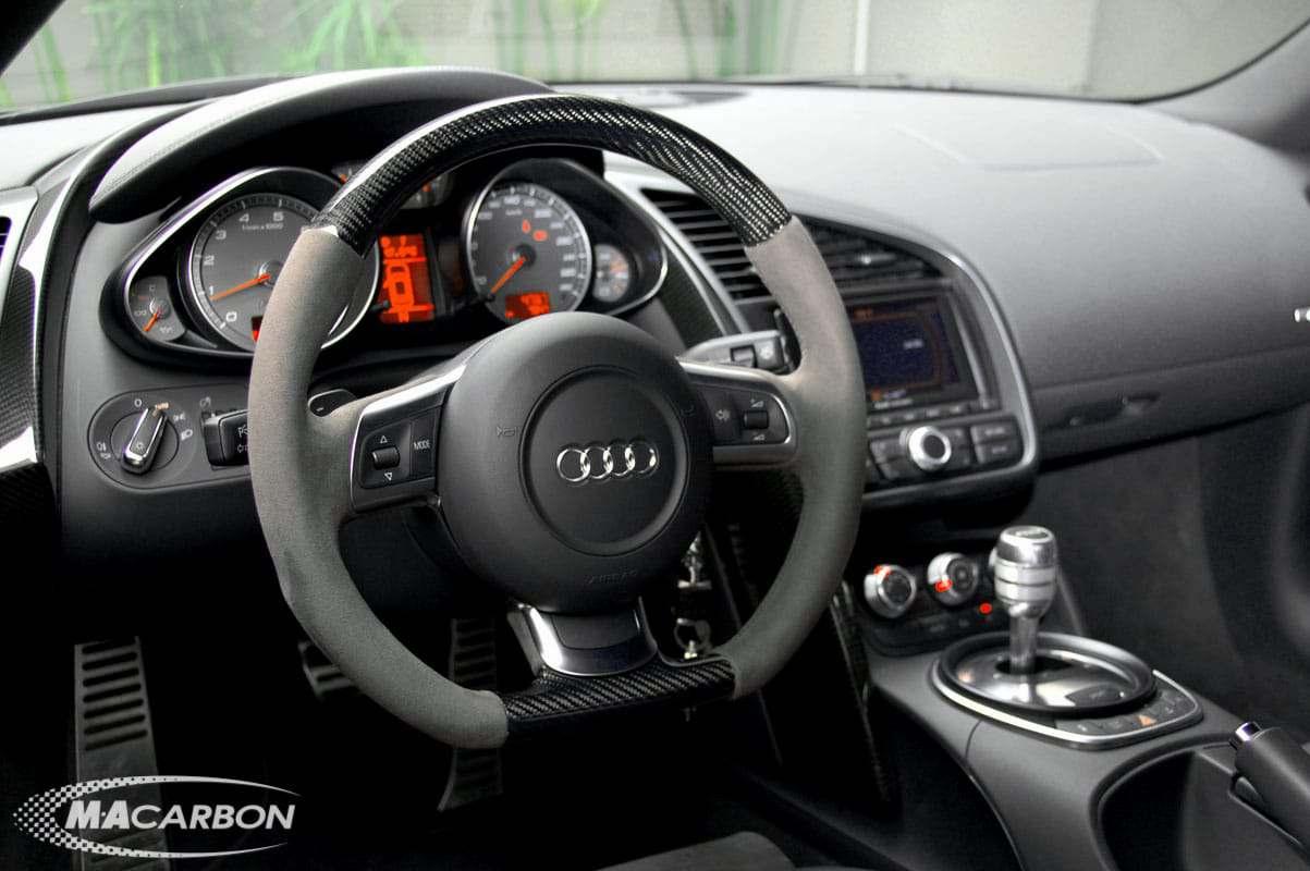 R8 Steering Wheels R8 Suede Carbon Top And Bottom Steering Wheel