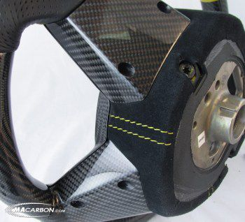 Aventador Wheel Top, Bottom, Center Carbon, Yellow Ring, Yellow