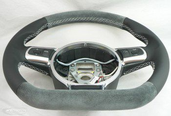 Audi R8 Wheel- Suede Top & Bottom, Leather Grips